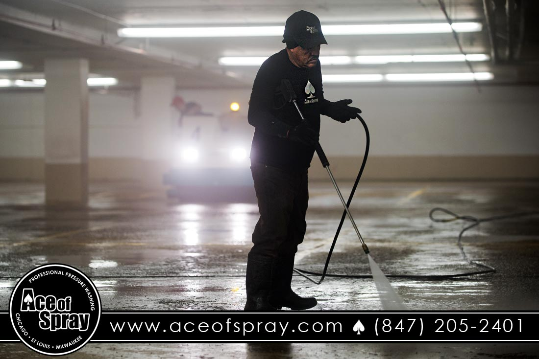 nightly power washing in Chicago, IL parking garage