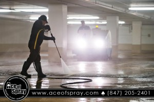 pressure washing a parking garage in Chicago